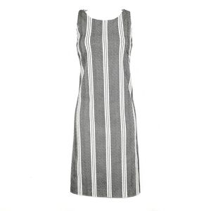 ANN TAYLOR Black White Geo Striped Shift Dress 4